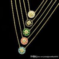 siyah elmas kolye kadın toptan satış-Üst pirinç malzeme yuvarlak kolye kolye ile elmas ve siyah mavi yeşil emaye kolye kadınlar için takı hediye markası PS6012