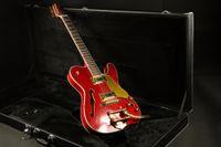 Wholesale guitar electric gold hardware online - semi hollow body bridge mettalic red tele electric guitar gold hardware gold pickguard