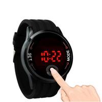 черный экран смотреть оптовых-Fashion Waterproof Mens Watch LED Touch Screen Date Silicone Wrist Black Watch Digital Wristwatches Children Watches