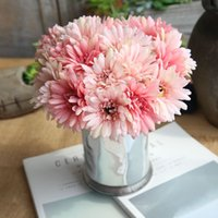 Wholesale lighted flower branches - 1 Bouquet Slik Artificial Gerbera Flowers Real Touch Fake Flower Chrysanthemum Flores Home Wedding Decoration Daisy 7 Branch
