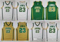 basketbol forması james toptan satış-Vincent St. Peter Lisesi İrlandalı 23 LeBron James Formalar Basketbol Gömlek Yeşil Beyaz LeBron James Dikişli Formalar S-XXl