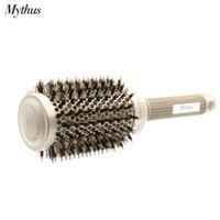 Wholesale nano heating - Mythus Professional Nano Technology Ceramic Ionic Hair Round Brush Boar Bristle Antistatic Heat Resistant Hair Curling Brushes