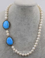 белое жемчужное бирюзовое ожерелье оптовых-freshwater pearl white near round and green howlite turquoise flat necklace 18inch wholesale  nature FPPJ woman 2017