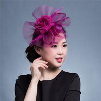 kadınlar büyüleyici şapkalar toptan satış-Zarif Kadın Saç Aksesuarları Düğün Gelin Veils Dekore Avrupa Tarzı Tüy Fascinator Kokteyl Parti Şapka Şapkalar