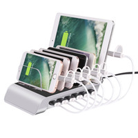 подставка для зарядки для ipad оптовых-Универсальный съемный 50 Вт 10.2 A 6-портовый USB зарядная станция база док стенд быстрое зарядное устройство для iphone мобильный телефон iPad pad tablet pc