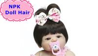 unisex kısa saç toptan satış-NPK Saç Peruk Siyah Düz Kısa Saç Peruk Bebek Reborn Kız Için Yapışkan Saç Peruk DIY Farklı Oyuncaklar Için