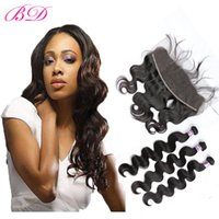 Wholesale indian women body hair - BD Peruvian Body Human Hair Malaysian Brazilian Indian Double Weft 3 Bundles With 13*4.5 Frontal Closure With a Gift For Women