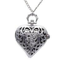 старинные часы оптовых-Унисекс Карманные Часы Цепи Кварцевые Старинные Серебряные Сердца Кулон