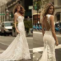 Wholesale berta wedding dresses tulle resale online - Berta Sheer Mesh Top Lace Mermaid Wedding Dresses Tulle Applique D Floral Wedding Bridal Gowns With Buttons BA9306
