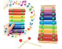 piyano için notlar toptan satış-Bebeğin Ahşap Müzikal Oyuncaklar Römork 8-Note Ksilofon Çocuk El Vurma Piyano Müzik Enstrüman Erken çocukluk eğitici oyuncaklar
