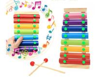 instruments de musique à main achat en gros de-Jouets musicaux en bois de bébé Remorque 8 x Note xylophone enfants frapper à la main Piano Instrument de musique