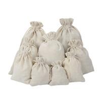 bolsos de lino del favor del cordón al por mayor-CALIENTE !!! Bolsas de lazo de lino de la joyería bolsa 8x10cm 9x12cm 10x15cm Titular del favor del banquete de boda Bolsa de embalaje de regalo de algodón