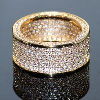 anillo topacio amarillo oro plata al por mayor-Impresionante marca Desgin de alta calidad de joyería de lujo 925 Sterling SilverYellow Gold llena de pavé Enternity Topaz CZ Diamond Circle Band Ring