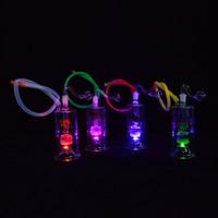 mini tragbare wasserleitungen großhandel-LED Glas Dab Rig Mini Wasserpfeifen 5