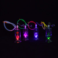 Wholesale LED Glass Dab Rig Mini Water Pipes quot inch Portable Oil Hookahs Inline Stereo Perc Recycler Glass Bongs mm Joint Shinning Concerntrate Dabs