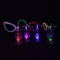 ingrosso mini tubo portaoggetti portatile-LED Glass Dab Rig Mini Water Pipes Narghilè da olio portatile da 5