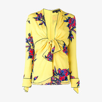 1bb42bd410 Mulheres Camisas De Impressão Floral Amarelo Profundo Decote Em V Mancha De  Seda Camisas de Manga Longa Encabeça Lady Férias Casuais Elegante Blusa Tops