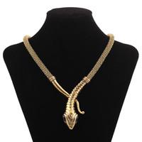 klasik önlük kolyeler toptan satış-Kadın Vintage Alaşım Önlüğü Yılan Gerdanlık Kolye Altın Gümüş Mısır Kleopatra Yılan Yılan Örgü Zincir Maxi Kolye Takı