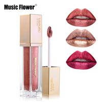 Wholesale creamy lipstick resale online - Music Flower Colors Metallic Liquid Lipstick Waterproof Diamond Shine Lip Gloss Creamy Paint Moisturizer Pigment Cosmetic