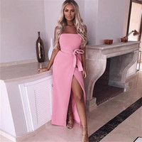 2090db84f24 Wholesale solid tube dress online - 2018 Summer Party Dress Women Strapless  Slim Stretch Bodycon Basic