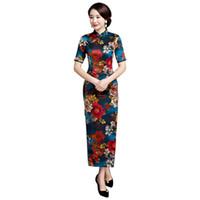 elbise çiçek polyester toptan satış-Kadınlar Çiçek Uzun Cheongsam Seksi Baskı Ince Çin Vintage Saten Abiye Mandarin Yaka Qipao Boy 3XL 4XL Vestidos