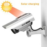 cctv sicherheit für dummies groihandel-Solarbetriebene wasserdichte gefälschte Kamera-Attrappe CCTV-Sicherheits-Überwachung, die rotes LED-Licht-Video-Diebstahl-Kamera YZ-3302 blinkt