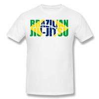 Wholesale mens discount white shirts - Discount Mens 100% Cotton Brazilian Jiu Jitsu Flag T Shirts Mens Crewneck Black Short Sleeve T Shirt 6XL Geek T Shirts