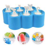Wholesale Ice Cream Stickers - Creative Silicone Mini Ice Pops Mold Ice Cream Ball Lolly Maker Popsicle Molds With 9 Stickers
