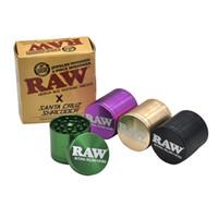 accesorios para fumar molinillos al por mayor-Tabaco de metal que fuma la amoladora de la hierba 4 capas sin procesar de los amoladores de humo en el diámetro al por menor del paquete 53m m WX9-809