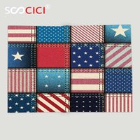 Wholesale custom throw blankets for sale - Group buy Custom Soft Fleece Throw Blanket Farmhouse Decor American Flag Patchwork with Vertical and Horizontal Stripe and Star Forms Red