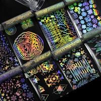padrões de unhas venda por atacado-Folha de Prego holográfica Flor Laser Dreamcatcher Padrões Misturados Galaxy Manicure Nail Art Adesivo de Transferência Set para o Natal Festa de Halloween