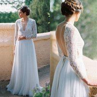 Wholesale halter applique chiffon wedding dress for sale - Group buy Boho Deep V neck Long Wedding Dresses New A Line Lace Long Sleeves Backless Chiffon Country Beach Wedding Bridal Gowns Cheap