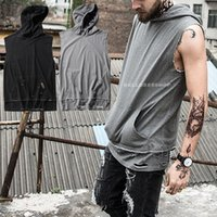 Wholesale Tank Tops Styles For Men - Sport Casual Summer Running T-shirts Mens Fitness Hole Breathable Sleeveless Gyn Hip Hop Style with Pocket Hooded Tank Top for Men Cool