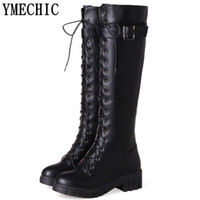 Wholesale knee high tie up boots resale online - YMECHIC Lady Black Motorcycle Boots Female Buckle Lace Up Cross Tied Gladiator Riding Knee High Long Boots Plus Size Shoes Woman