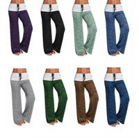 Wholesale plus size long yoga pants online - Causal Women Autumn Pants Wide Leg Pants Loose Straight Trousers Long Plus Size Trousers Comfortable Soft Yoga Sport Pants LJJK872