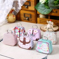 Wholesale Tin Gift Containers - Mini Handbag Tin Box Home Cable Organizer Storage Box Zakka Wedding Gift Candy Jewelry Container Tea Boxes wen5513