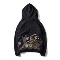 ingrosso fiori ricamati neri-2018 New Autumn Hoodies Felpe uomo ricamo fiori manica lunga Pullover Top sottile Hip Hop cotone con cappuccio Sweatshi nero