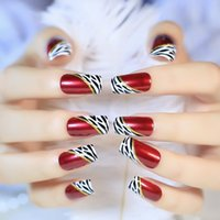 Discount long french tip nails - 24 Pcs Long Fake Nails Red Wine Oblique Leopard French Ellipse artificial nails on The Patch for Party Office
