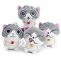 Wholesale wholesale key chains made online - Cute Cartoon Cheese Cat Key Chain Ring Buckle Plush Toys PU Speckle Little Cat Lovely Bell Doll Bag Pendant Girl Gifts bl bb