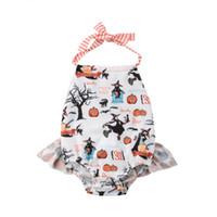 naranja bodysuit al por mayor-Bebés Recién Nacidos Niñas de Halloween Body de Calabaza Jumpsuit de Algodón Impreso Ruffles Girls Body Naranja Blanco 0-24 M