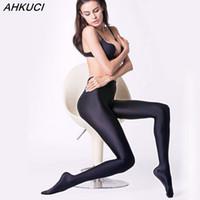 ingrosso collant nero delle donne più il formato-AHKUCI Nuove Donne di Marca Sexy Nero Lucido Collant Elastico Plus Size Nylon Elastico Collant Caldo Collant di Alta Qualità Femme leggin
