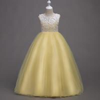 robes jaunes turquoises pour les filles achat en gros de-Jolies robes de demoiselle d'honneur bleu turquoise vert turquoise bijou de filles Filles / robe d'anniversaire / jupe taille personnalisée 2-14 F712001