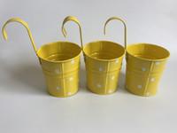 Wholesale wall hooks iron metal resale online - Yellow Hanging bucket Wall Hanging Planter Iron Hook pots Flower Tub Decorative metal Planter Dot design