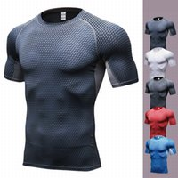 Wholesale men s yoga pants - 2017 short Sleeve Elastic Tight Sportswear Fitness Men Yoga Shirt compression Breathable Absorb sweat Running T-shirts clothes