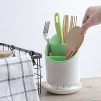 Wholesale shelf trays - 2018 Removable Plastic Cutlery Shelf With tray Chopsticks Utensil holder Water Drainage 4Colors Organizer Useful Kitchen Accessories