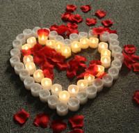 праздничные свечи без пламени оптовых-Светодиодные свечи светодиодные электрические батарейках Tealight свечи теплый белый беспламенного для праздника свадебные украшения 12 шт.