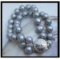 akoya perla 12mm al por mayor-2 hileras 11-12mm mar del sur akoya gris pulsera de perlas barroca 7.5-8 pulgadas t