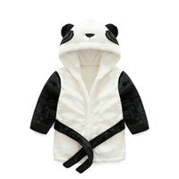 ingrosso accappatoi unisex appena nati-Camicie da notte del bambino neonato Panda Accappatoio flanella bambini accappatoio pigiama con cappuccio vestito da bagno per bambini morbido accappatoi sonno usura