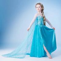trajes largos al por mayor-Vestidos para niñas Disfraces congelados Niños Cosplay Vestido de fiesta Vestidos de princesa Yestidos Bebés para niños Manga larga