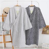 kimonos masculinos al por mayor-Al por mayor-amantes Simples trajes de kimono japoneses hombres de primavera de manga larga 100% algodón bata de moda casual olas batas para hombres